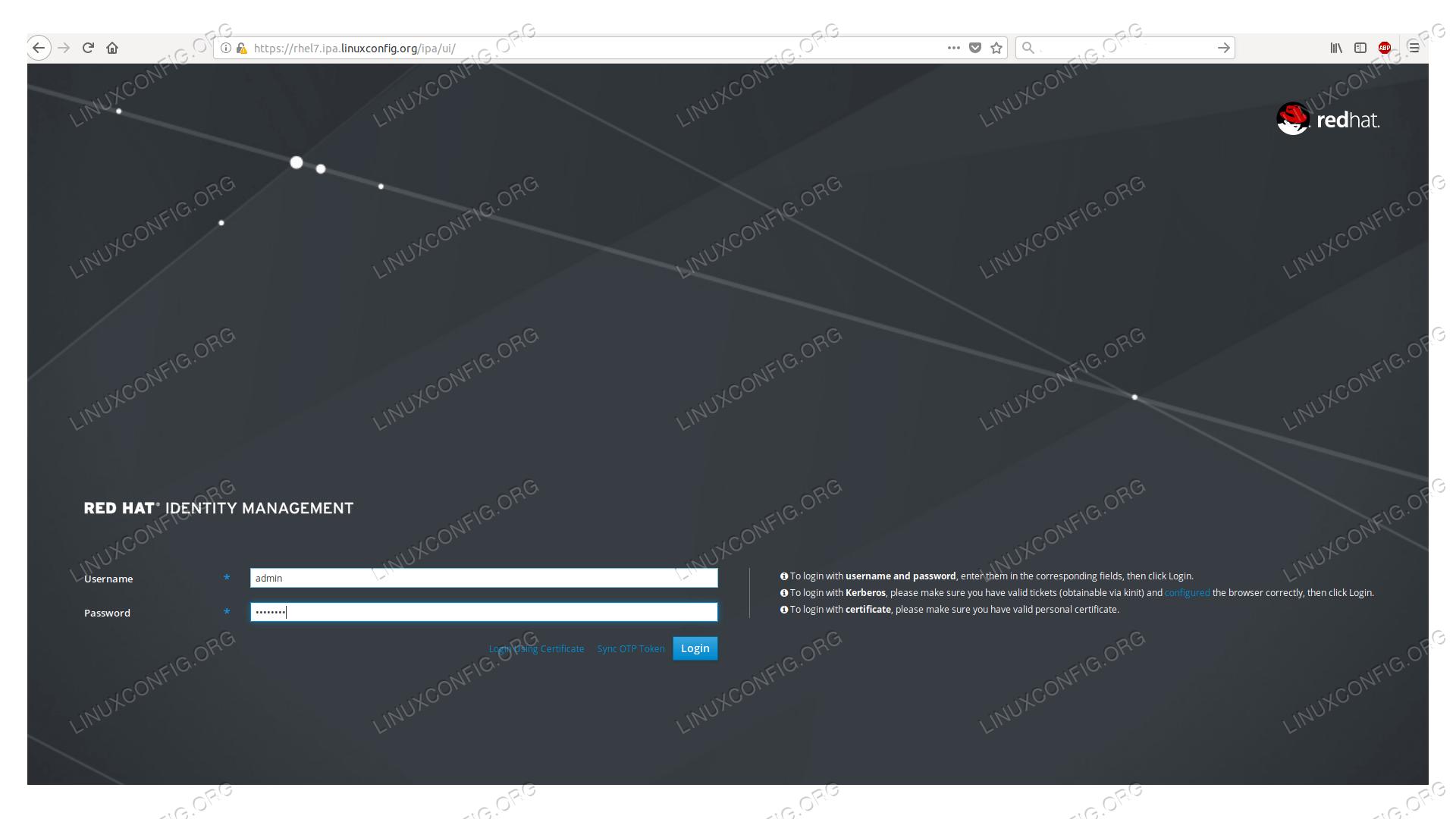 FreeIPA login page