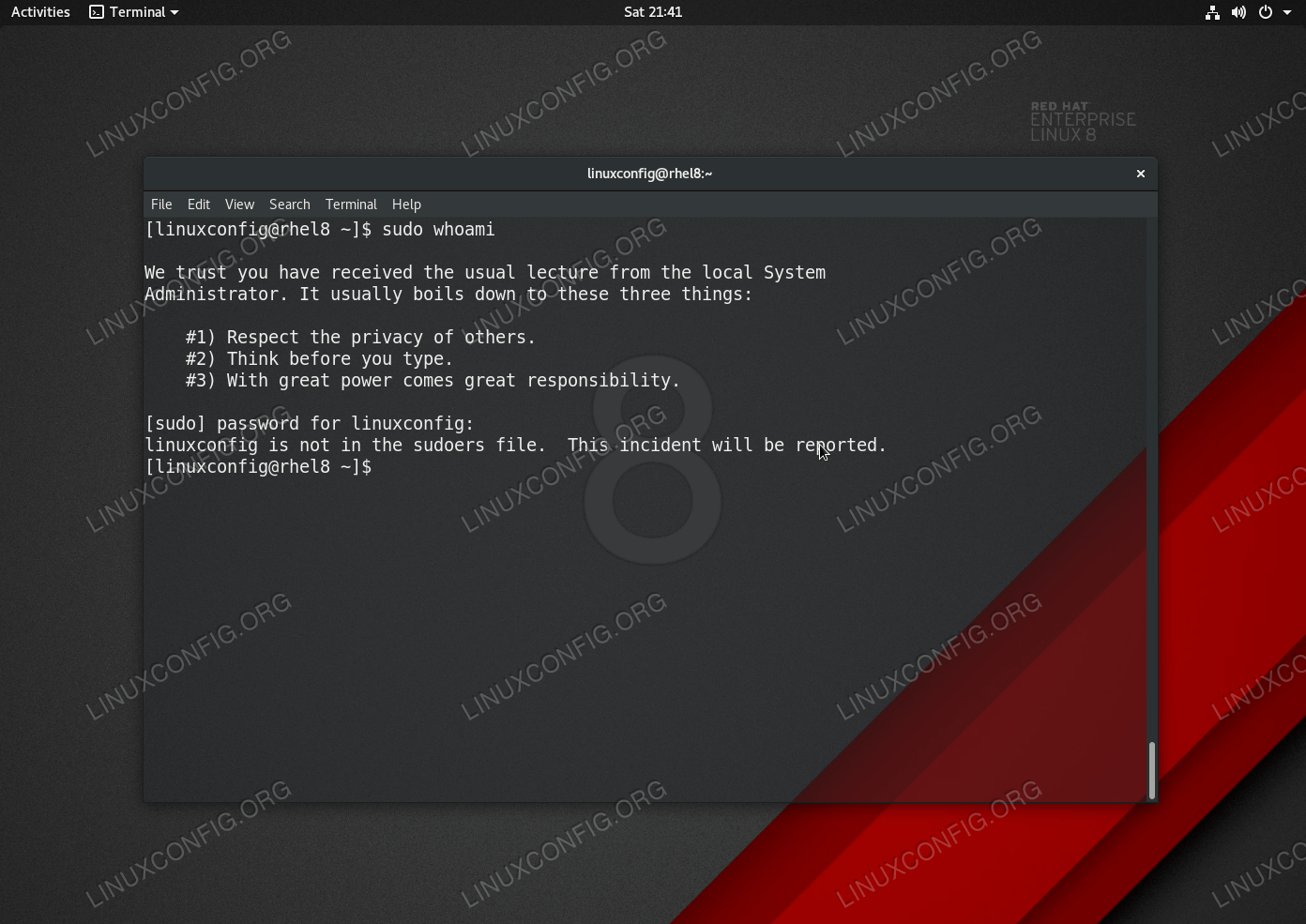 User is not in the sudoers file error message on RHEL 8 / CentOS 8 Linux