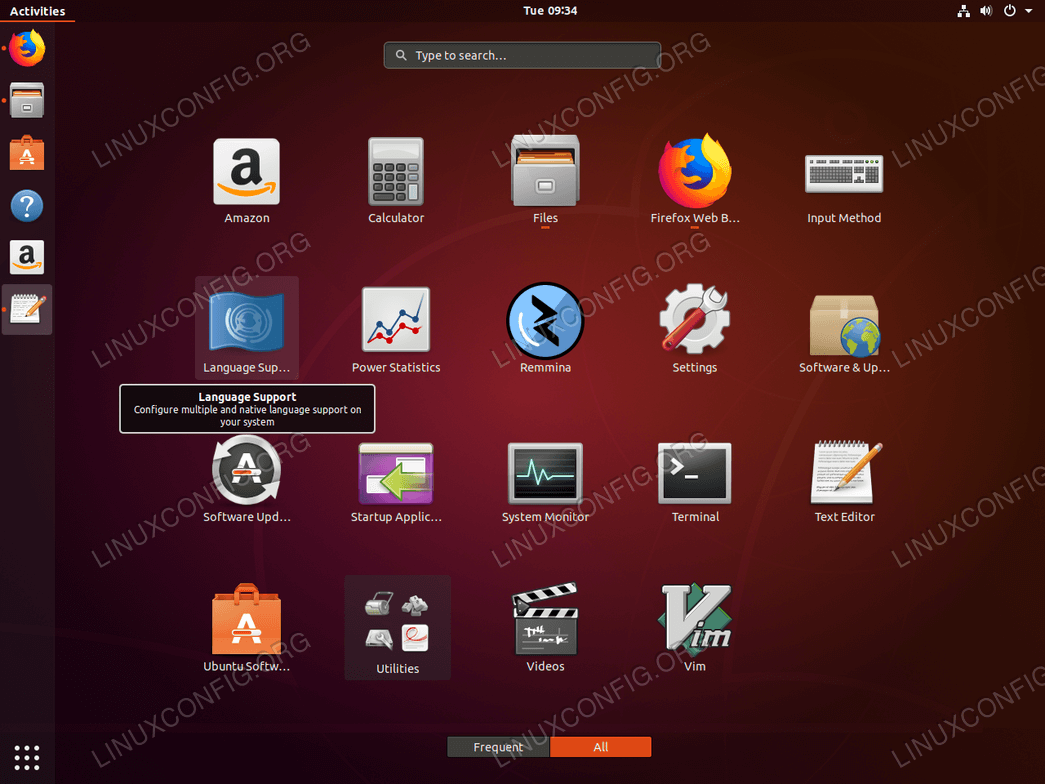 Applications Overview Tooltip on Ubuntu 18.04