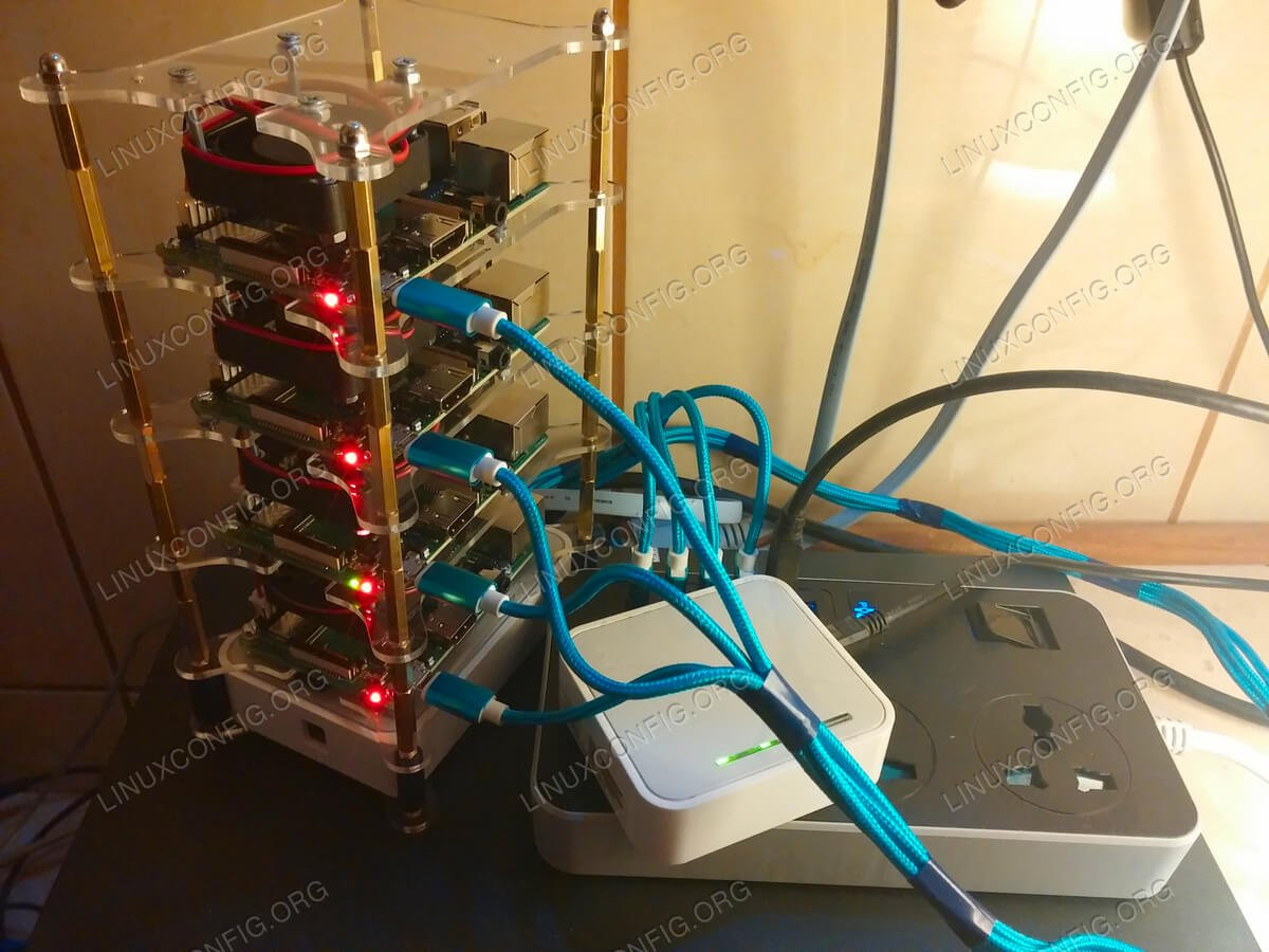Build a cluster out of cheap Raspberry Pi's and run Linux on it