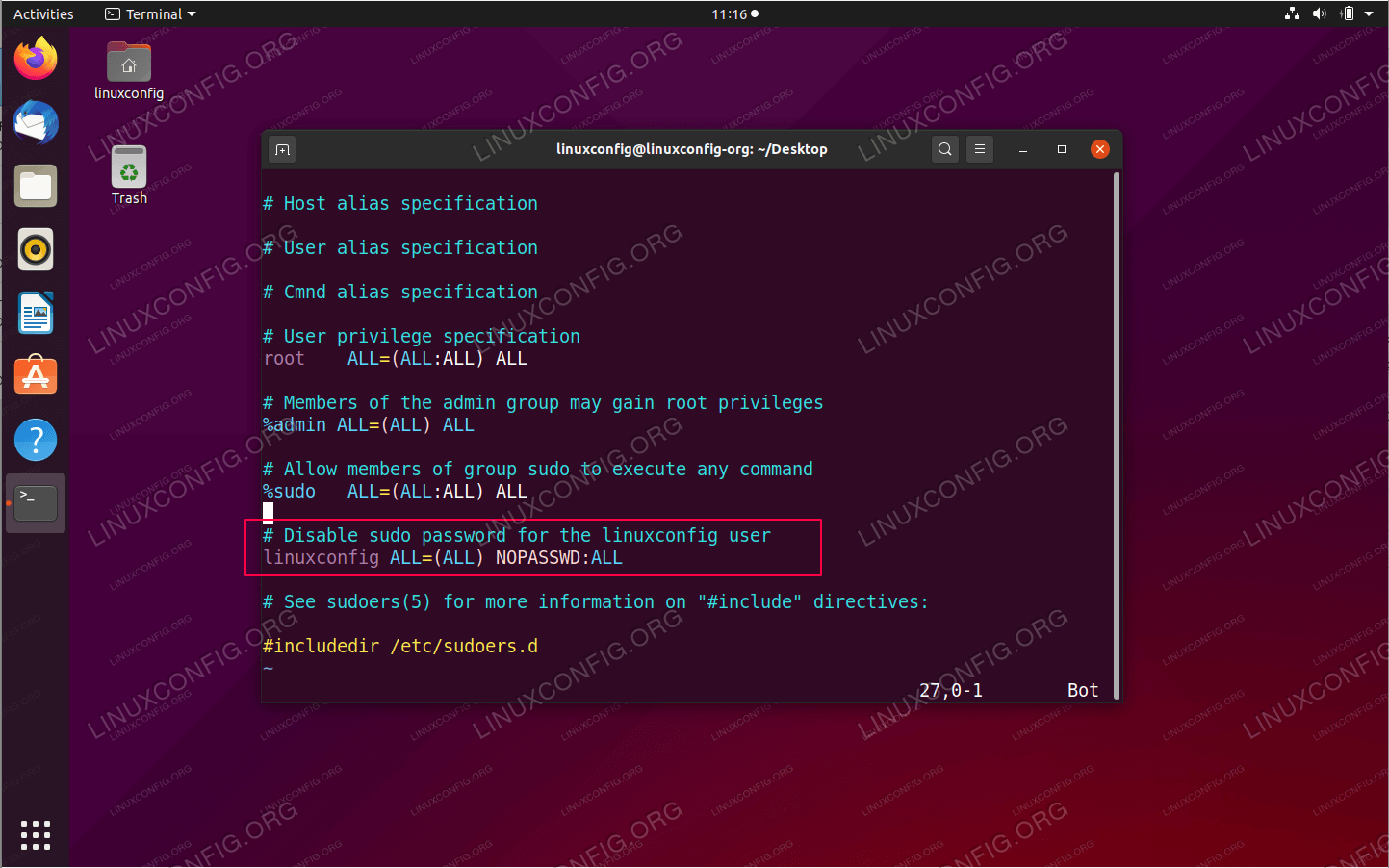 Configure sudo without password on Ubuntu 20.04 Focal Fossa Linux