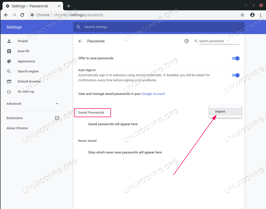 import/export passwords on Chrome/Chromium browser