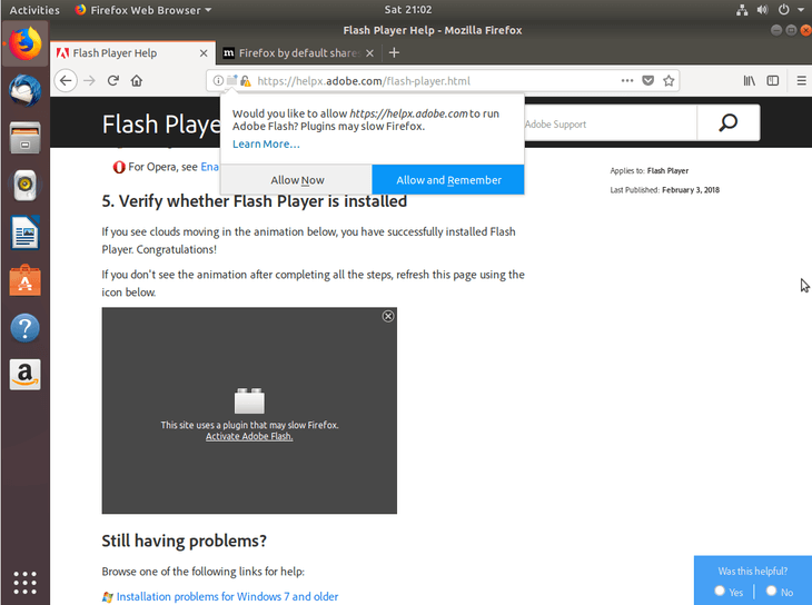 How to install and enable Adobe flash player plugin on