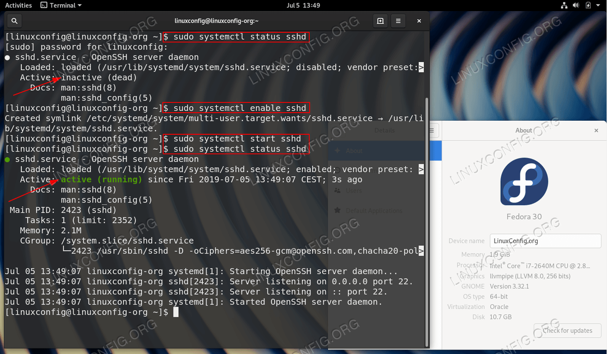 Check status, enable and start the SSH Server on Fedora Linux