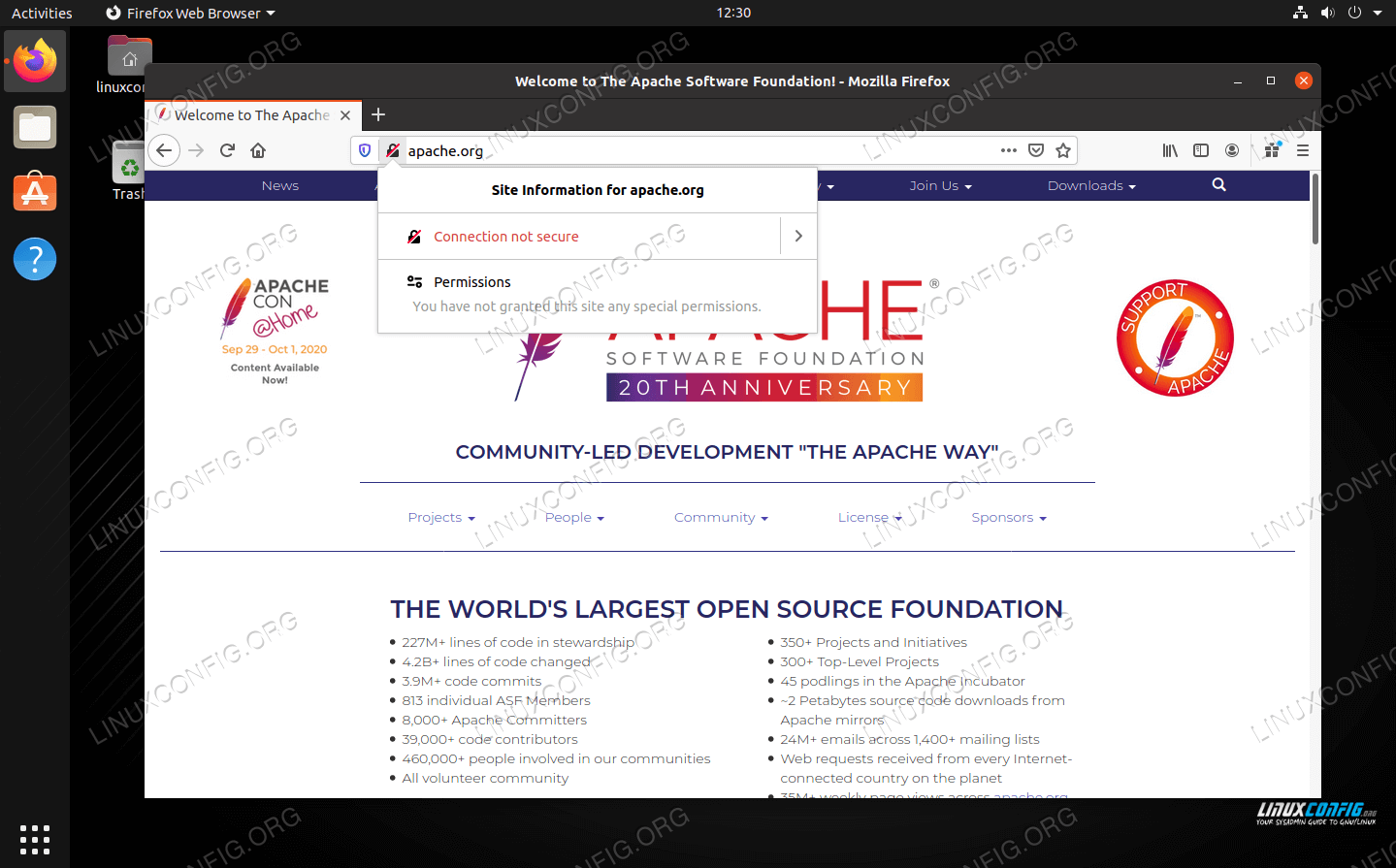 Firefox warning that the connection to this website is not secure
