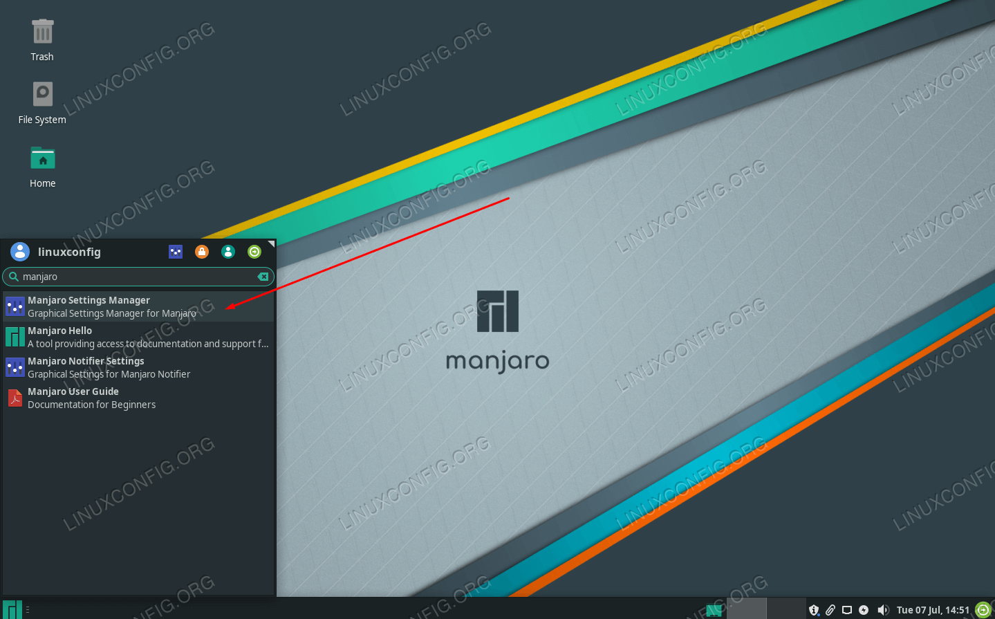 Locate the Manjaro Settings Manager from the application launcher