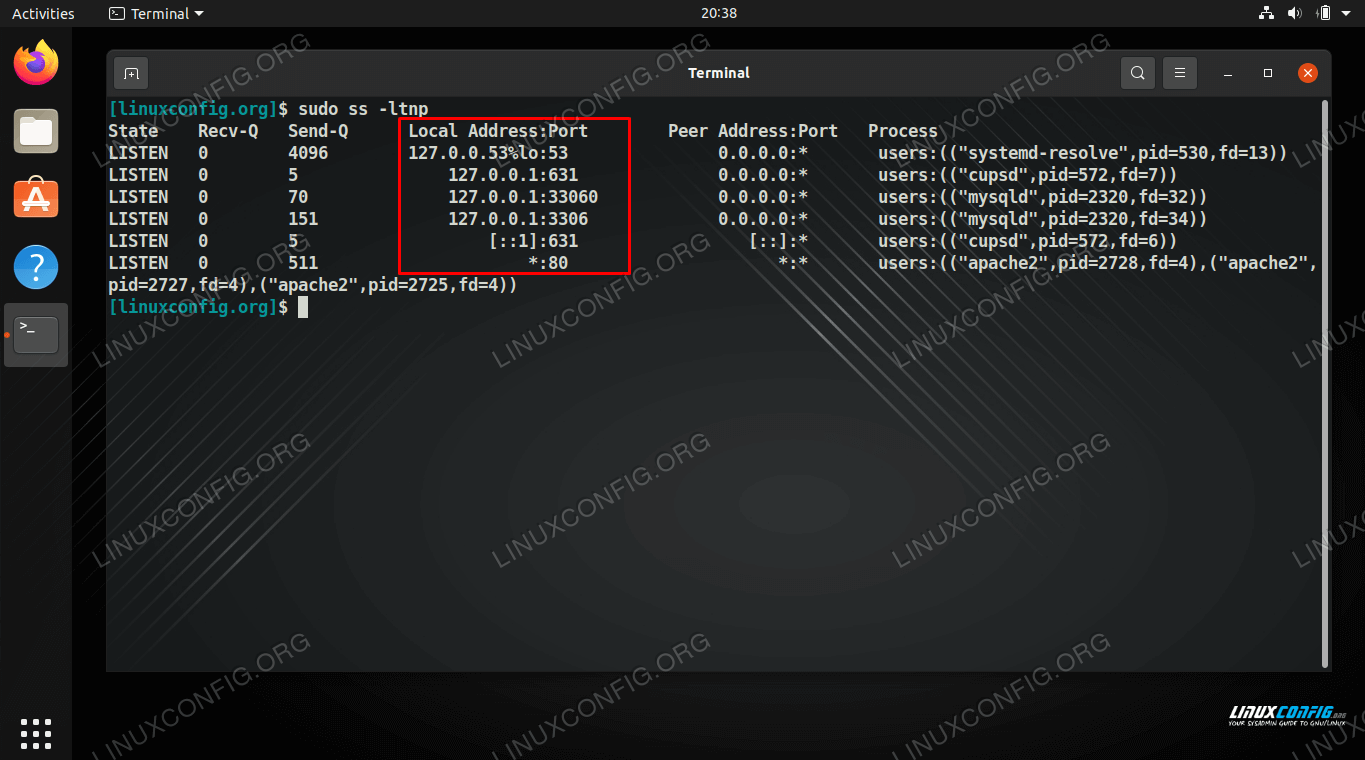 Checking for open ports on Ubuntu Linux with the ss command