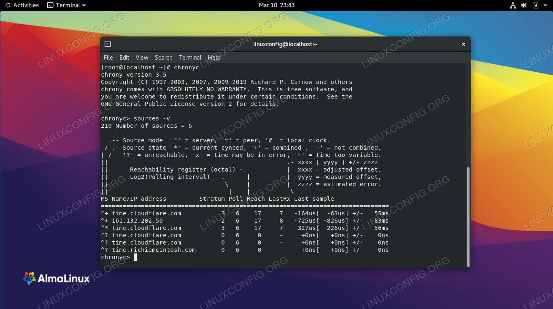 The chrony NTP server source list on AlmaLinux