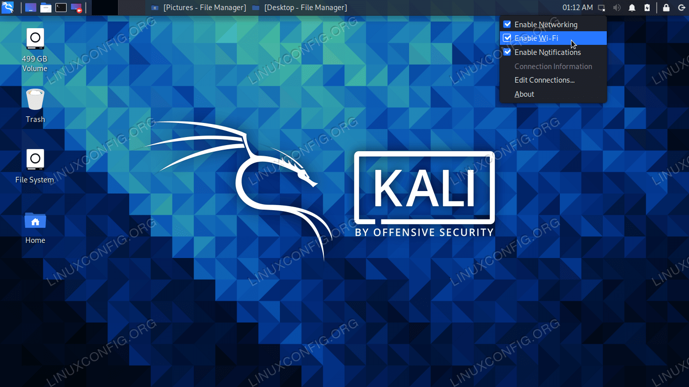 Enabling and disabling WiFi in Kali Linux
