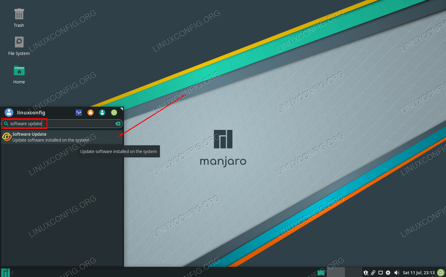 Open the software manager in your GUI from the application launcher