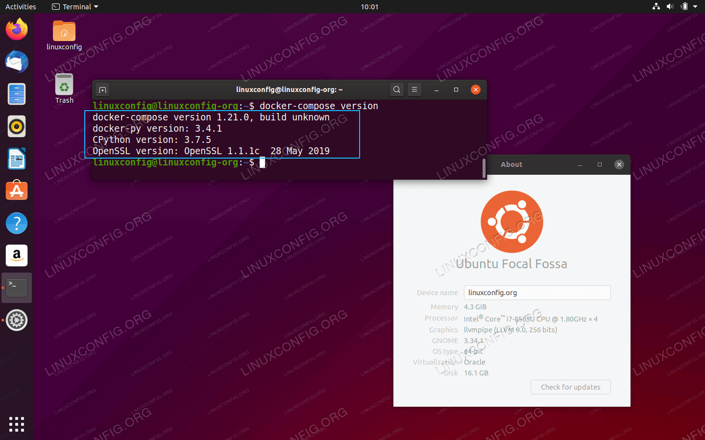 docker-compose on Ubuntu 20.04 Focal Fossa Linux