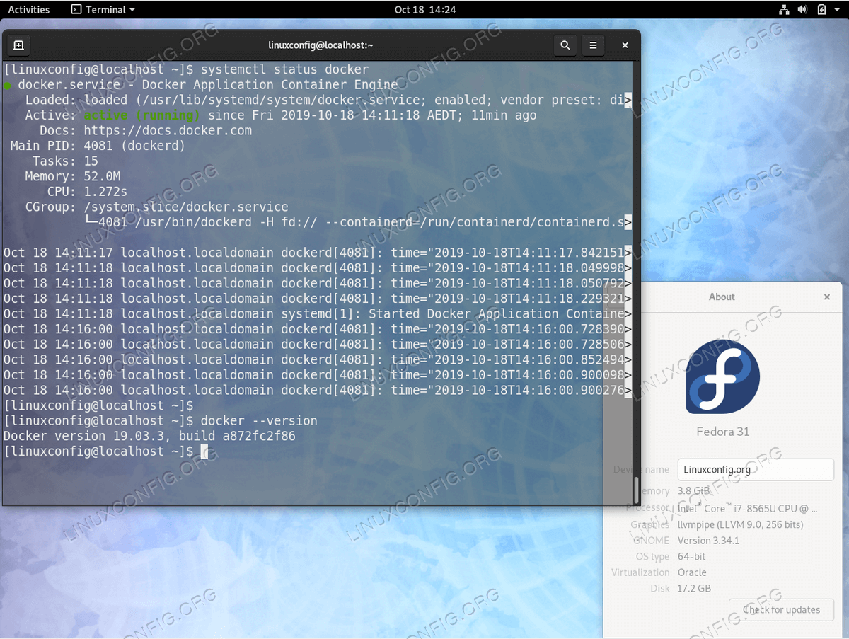 Docker on Fedora 31