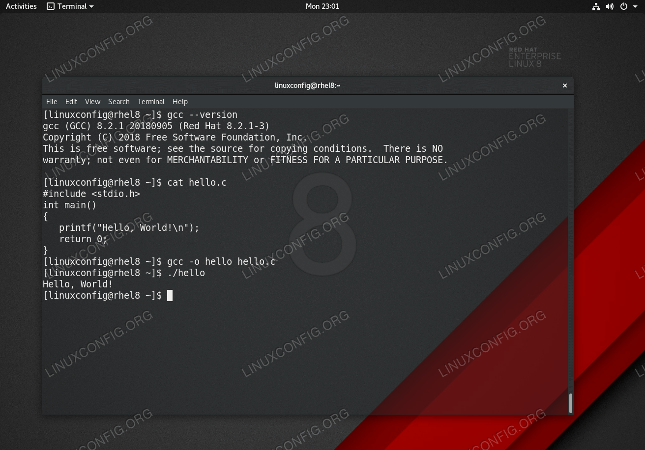 How to install GCC the C compiler on RHEL 8 - LinuxConfig org