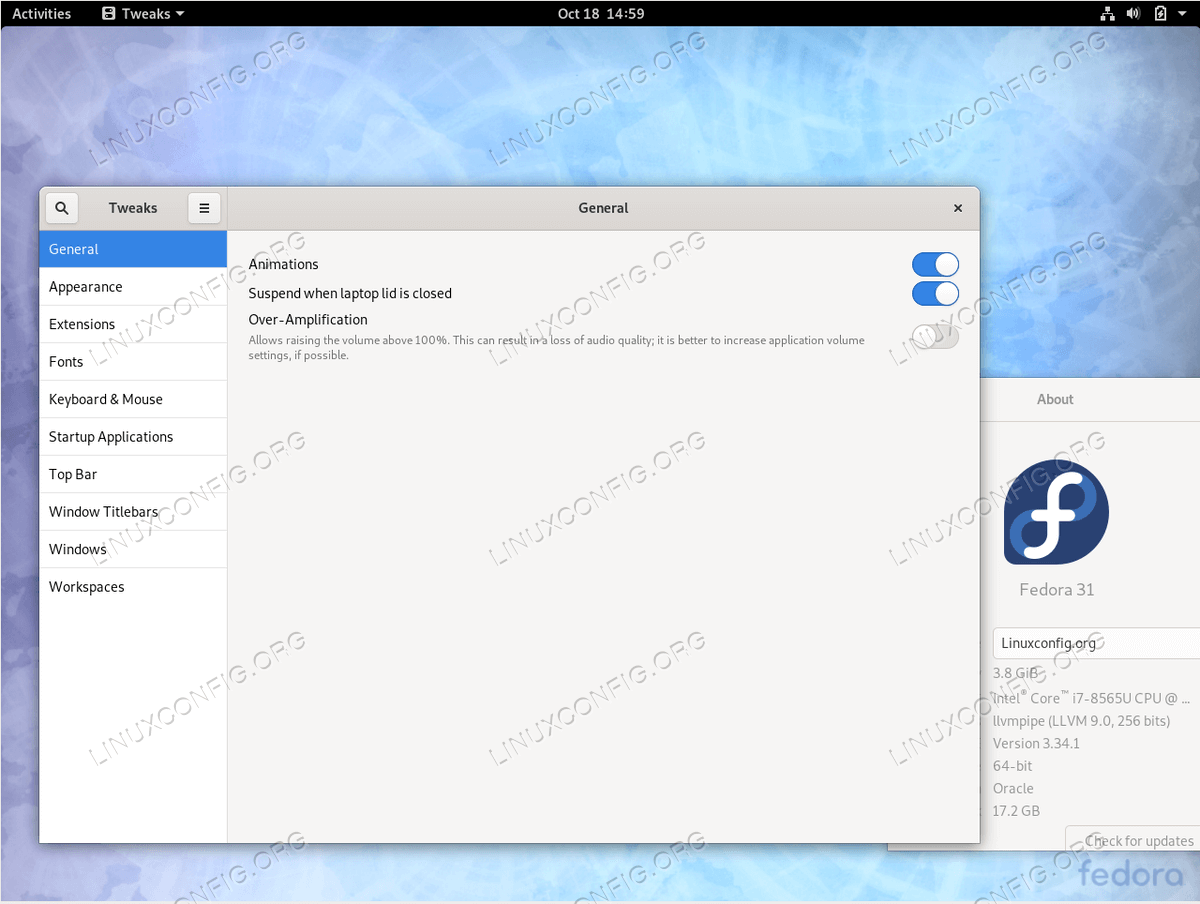 Gnome Tweak Tool on Fedora 31
