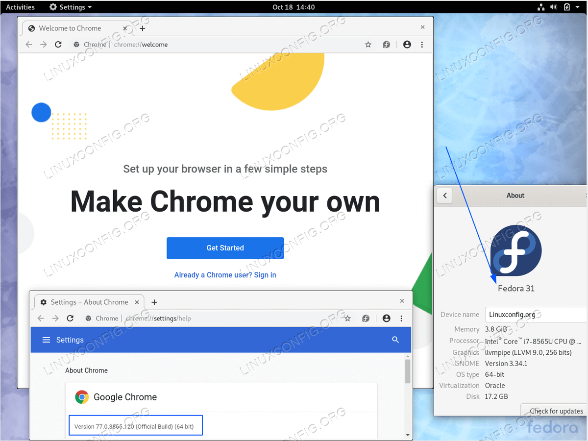 Google Chrome on Fedora 31