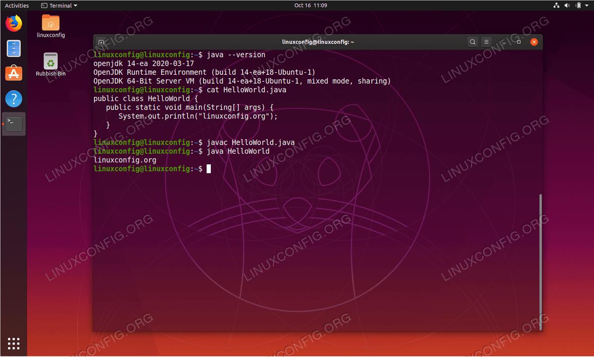 Java on Ubuntu 19.10 Eoan Ermine Linux
