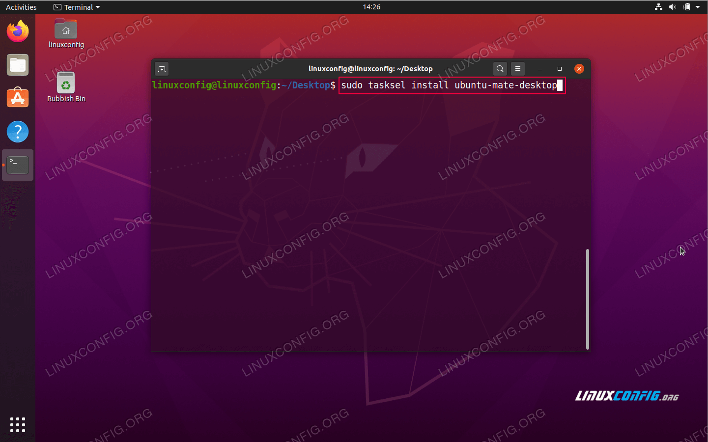 MATE desktop installation command on Ubuntu 20.04