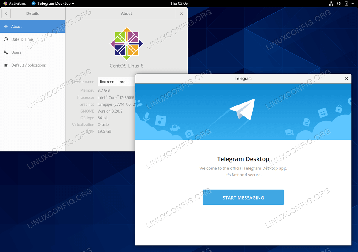 Telegram messenger on CentOS 8 Linux