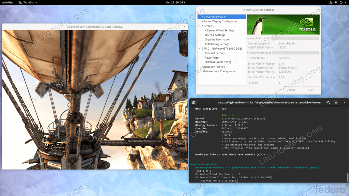 Installed Nvidia drivers on Fedora 31 Linux GNOME Workstation