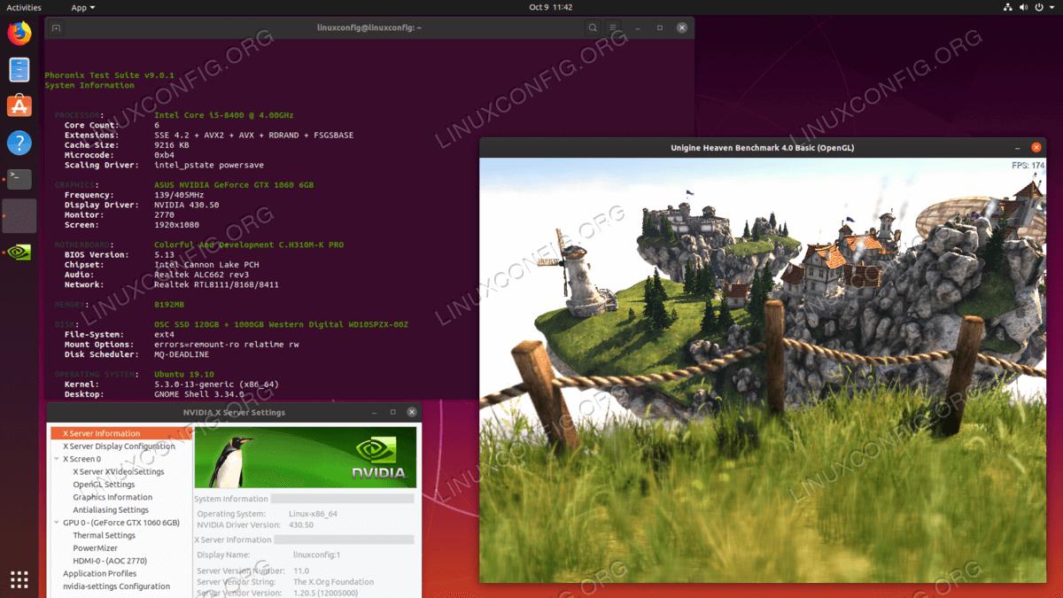 Installed NVIDIA drivers on Ubuntu 19.10 Eoan Ermine Linux