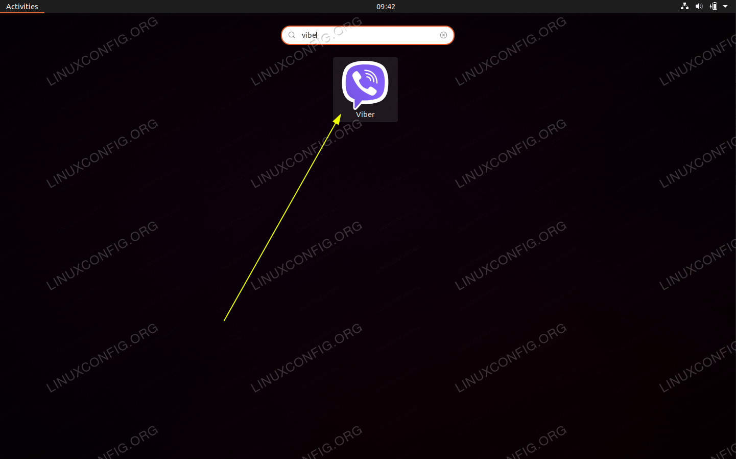 Use Activities menu to search and start Viber on your Ubuntu 20.04 desktop.