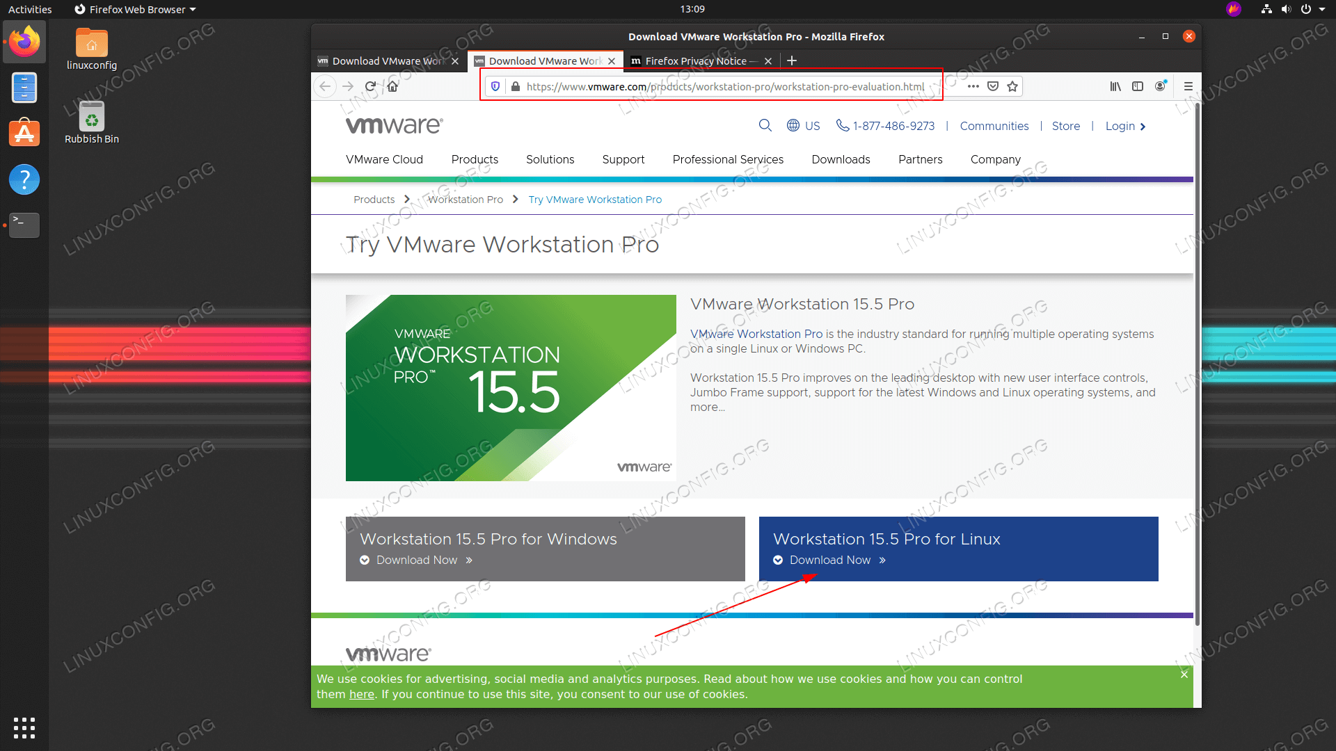 download the VMware Workstation PRO for linux