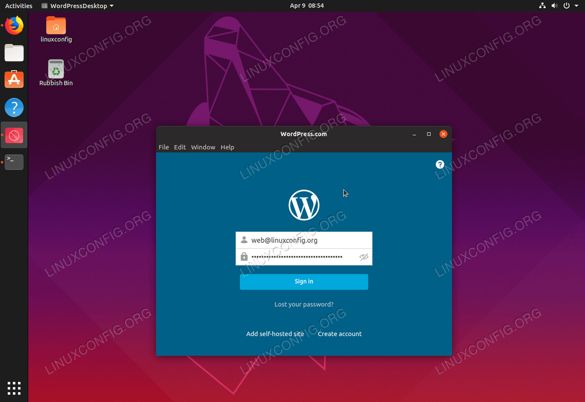 How To Install Wordpress Com Desktop App On Ubuntu 19 04 Disco Dingo Linux Linuxconfig Org