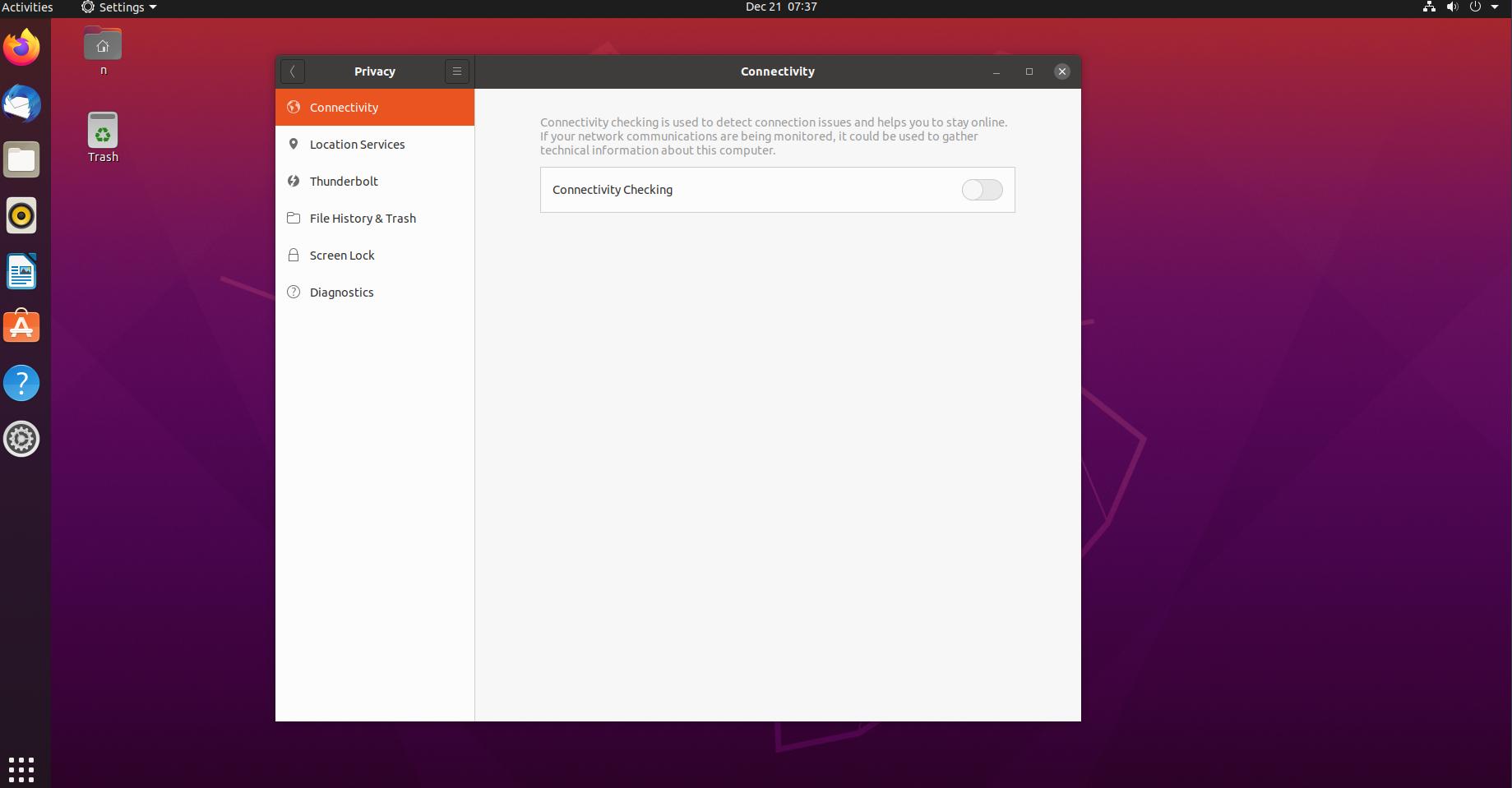 Ubuntu connectivity toggle
