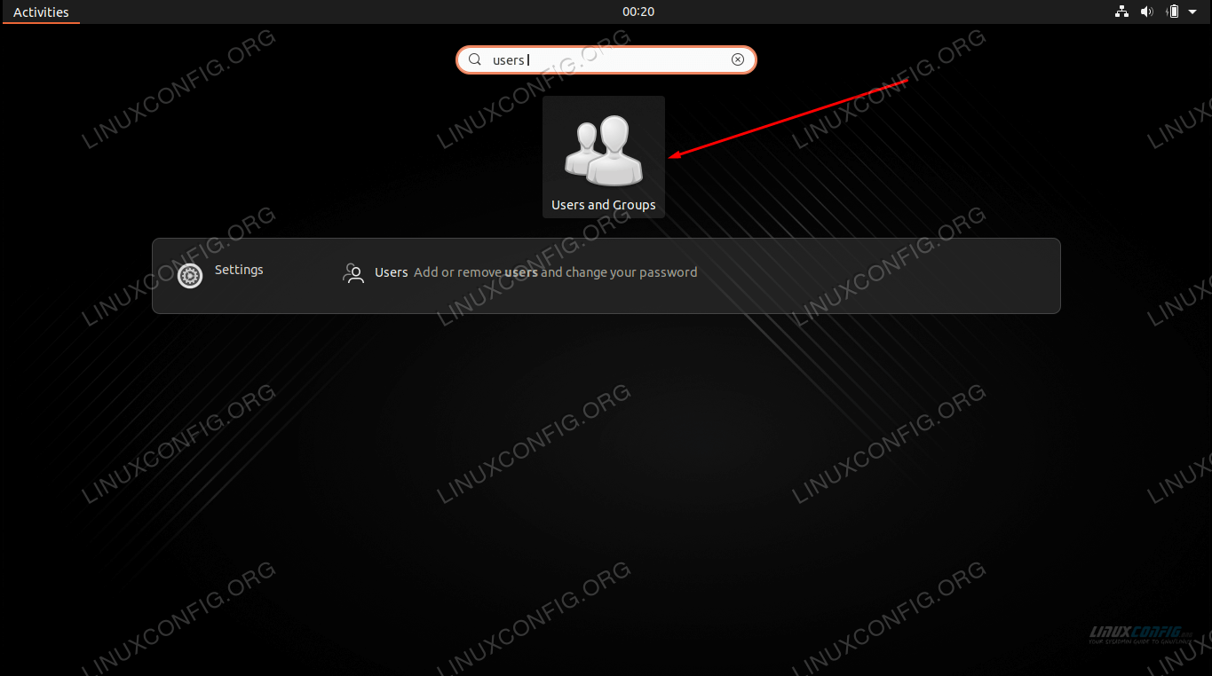 Search for and open the Users and Groups application