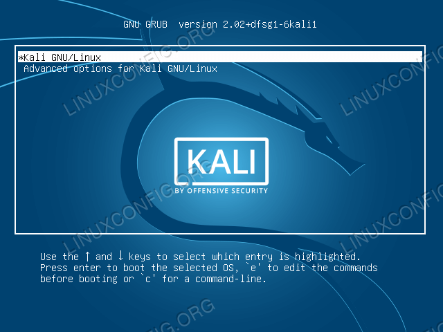 Boot to Kali GRUB menu