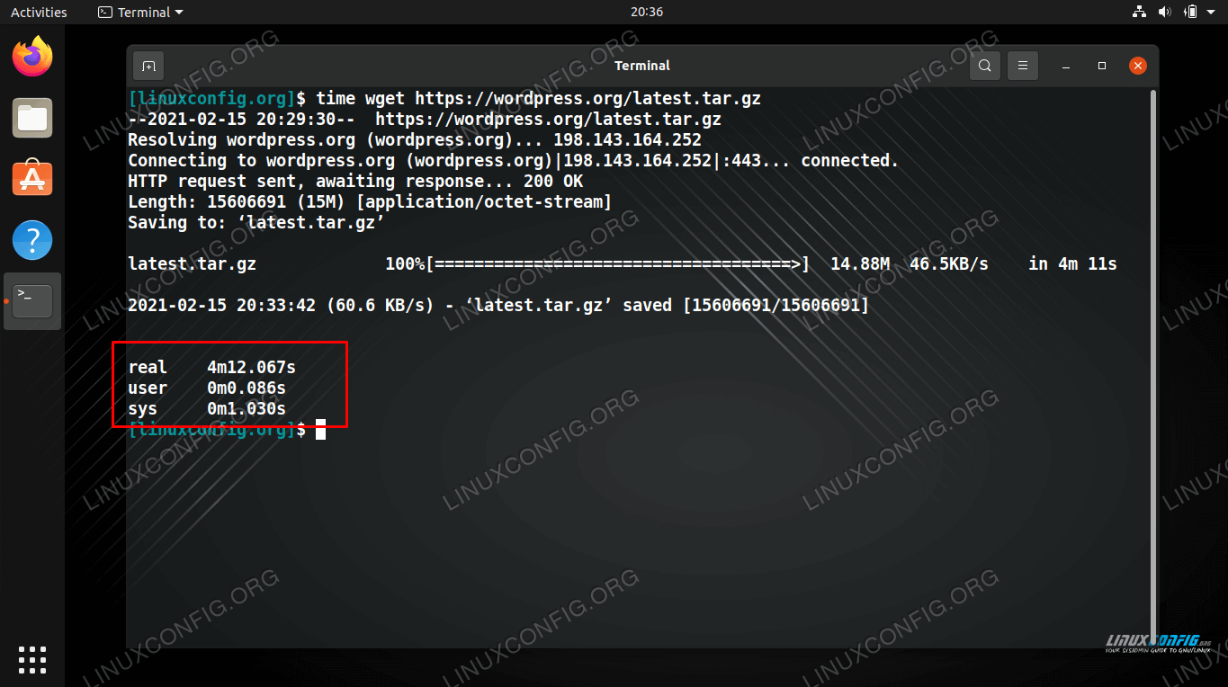 time command on Linux