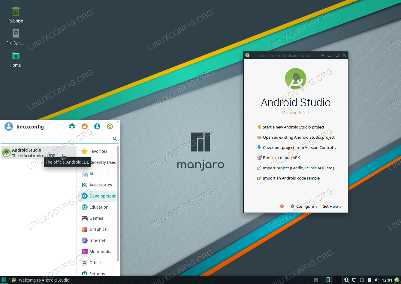 Successful Android Studio installation on Manjaro 18 Linux