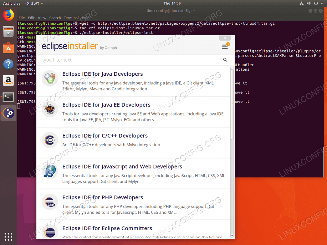 Update Eclipse Oxygen installer - Ubuntu 18.04