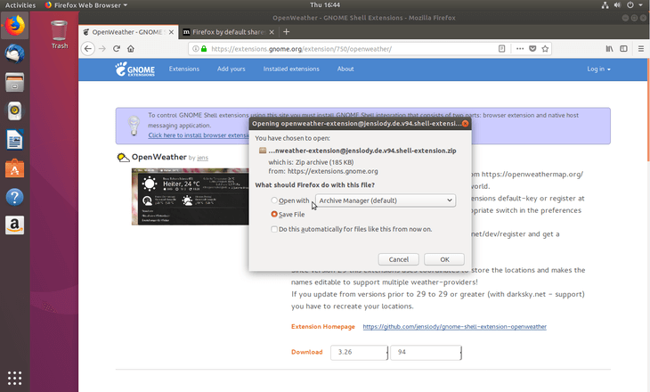 download gnome extension zip file