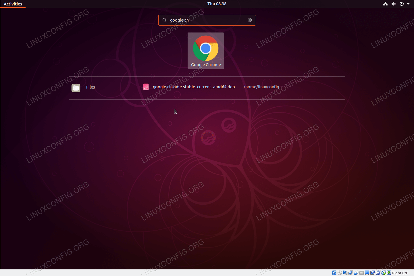 Launch Google Chrome browser from Ubuntu 18.10 Activity menu.