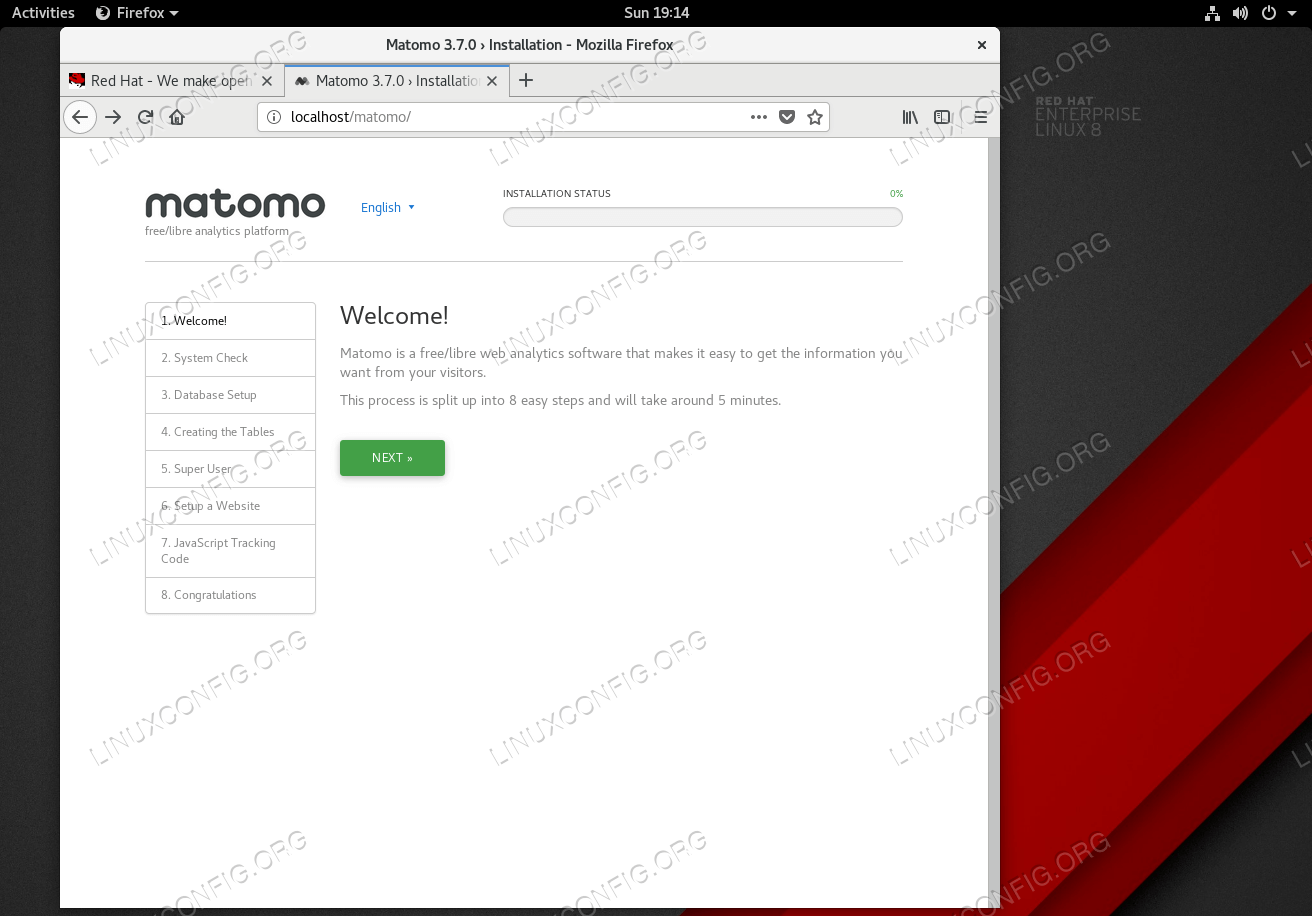 Matomo installation wizard welcome page.