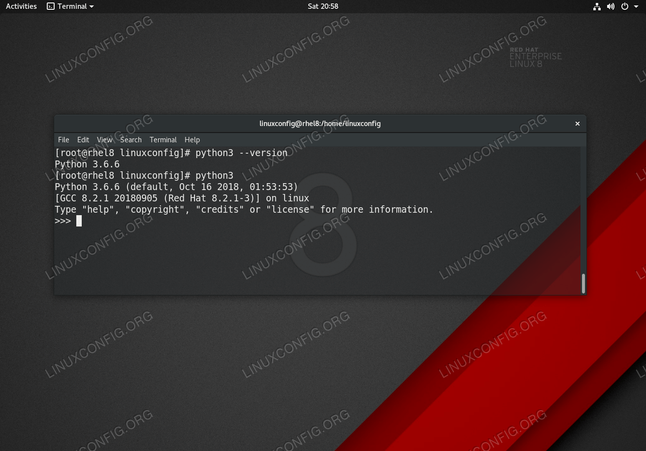 Python 3 installation on Red Hat Enterprise Linux 8