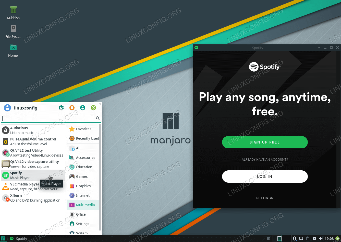 Installed Spotify on Manjaro 18 Linux