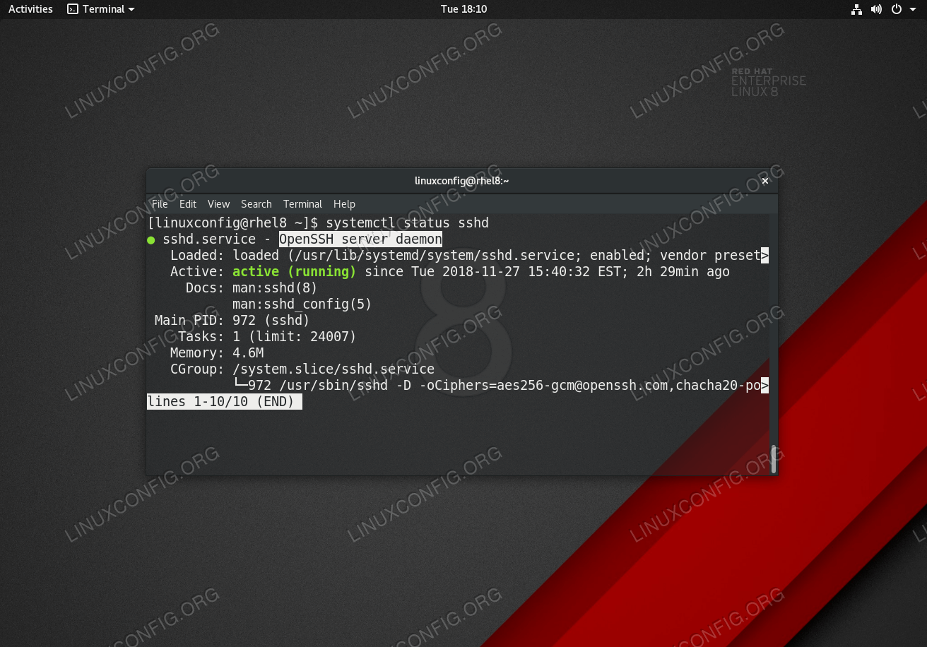 Active SSH Server Daemon on RHEL 8 Linux server/workstation.