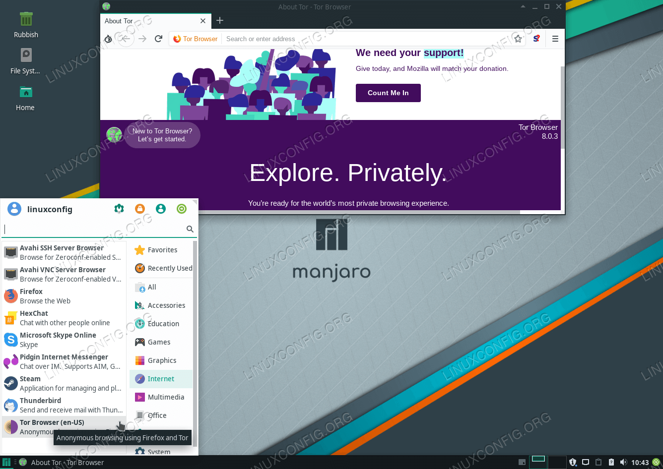 Successful installation of Tor Browser on Manjaro 18 Linux