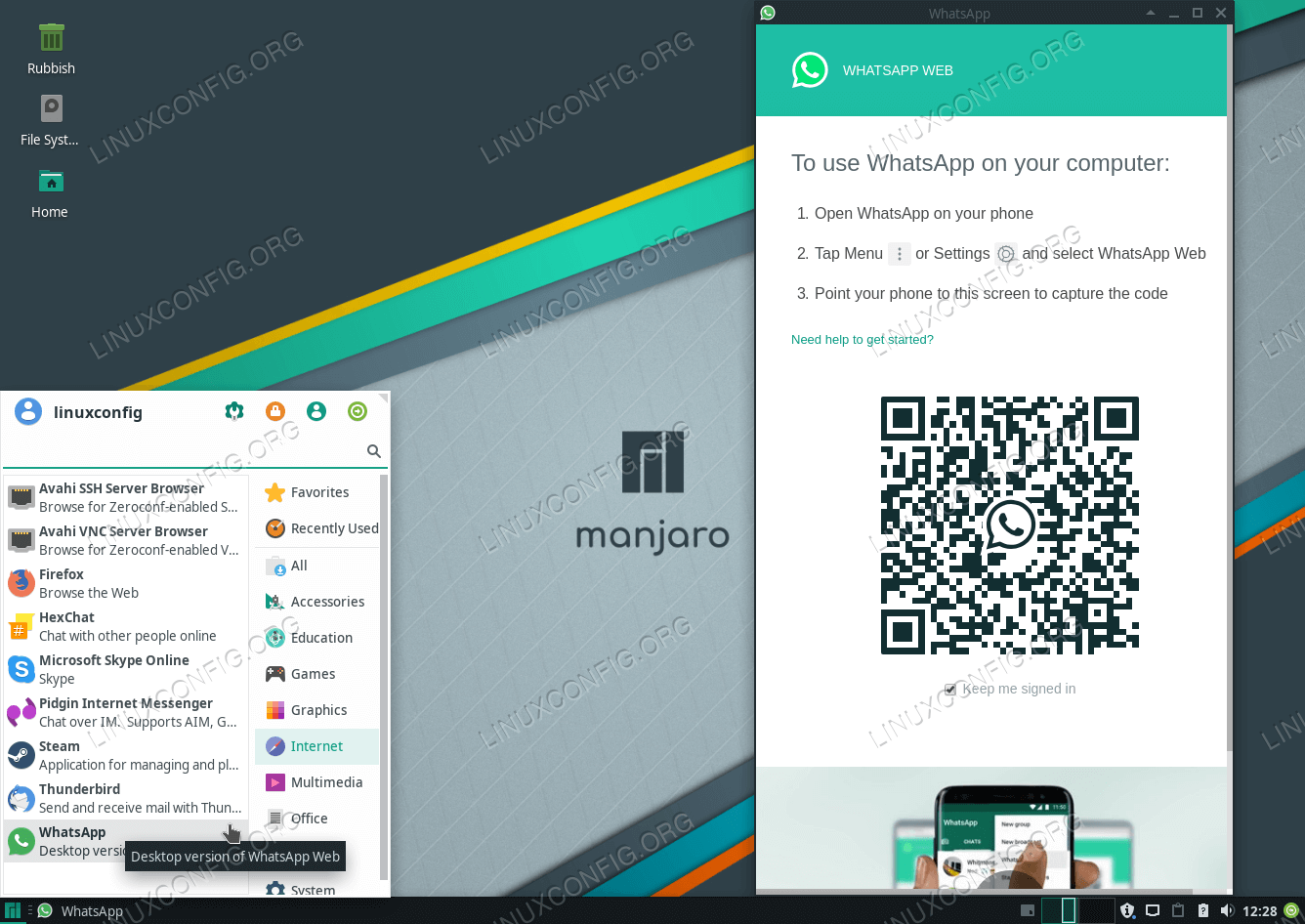 How to install WhatsApp on Manjaro 18 Linux - LinuxConfig org