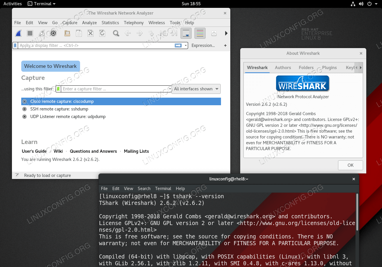 Wireshark application on RHEL 8 / CentOS 8.