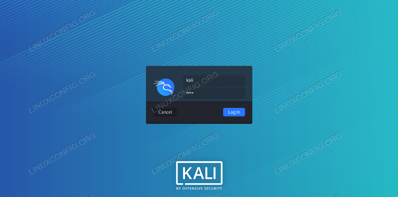 Default user and password for Kali Linux
