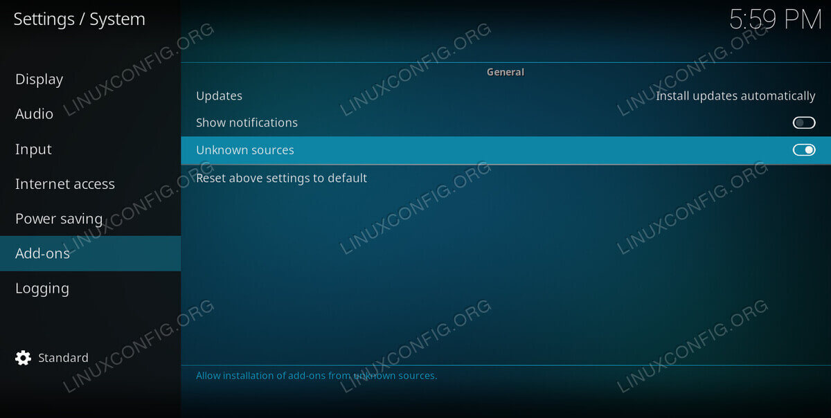 Enable Unknown Sources on Kodi