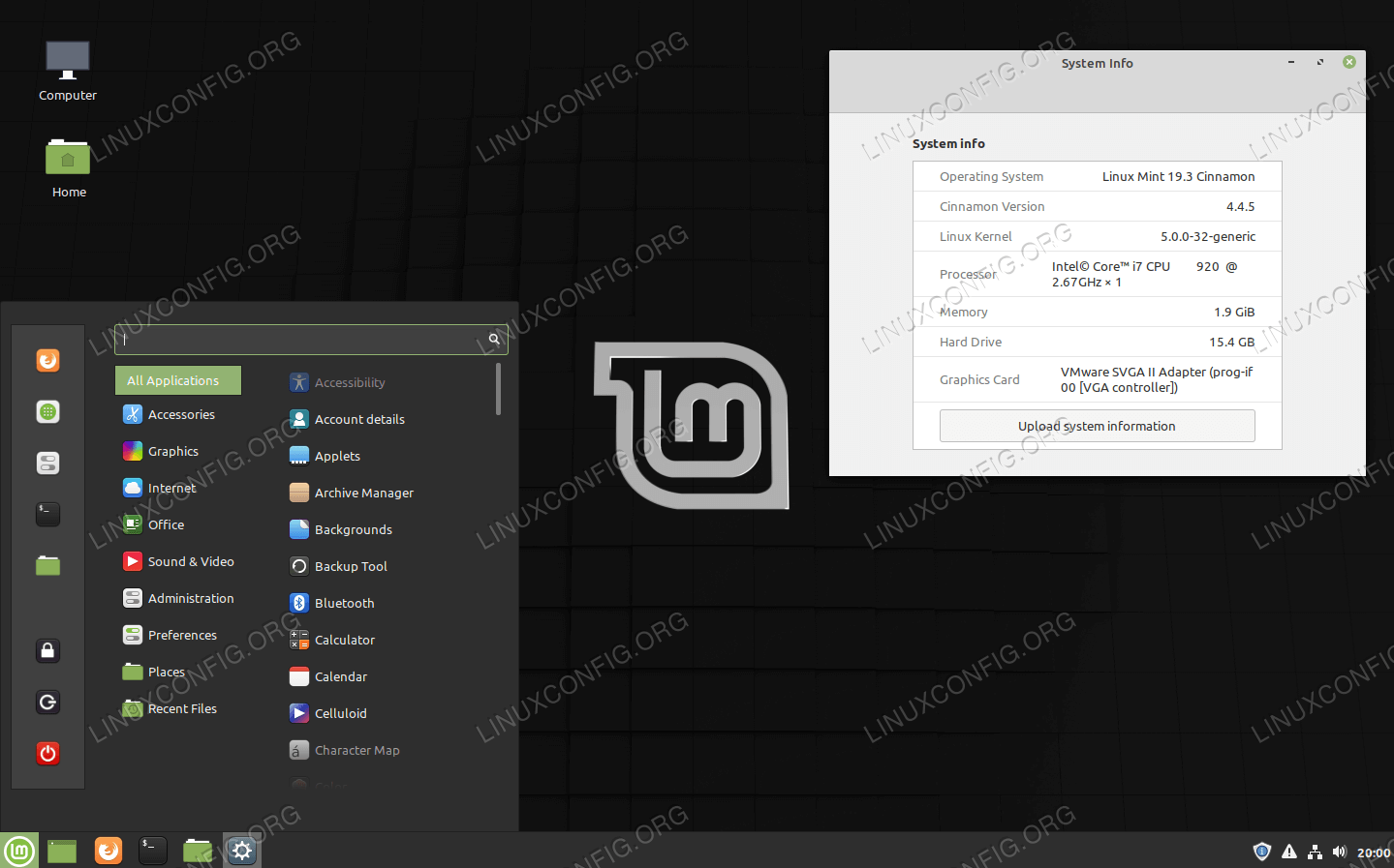 Linux Mint running Cinnamon desktop environment