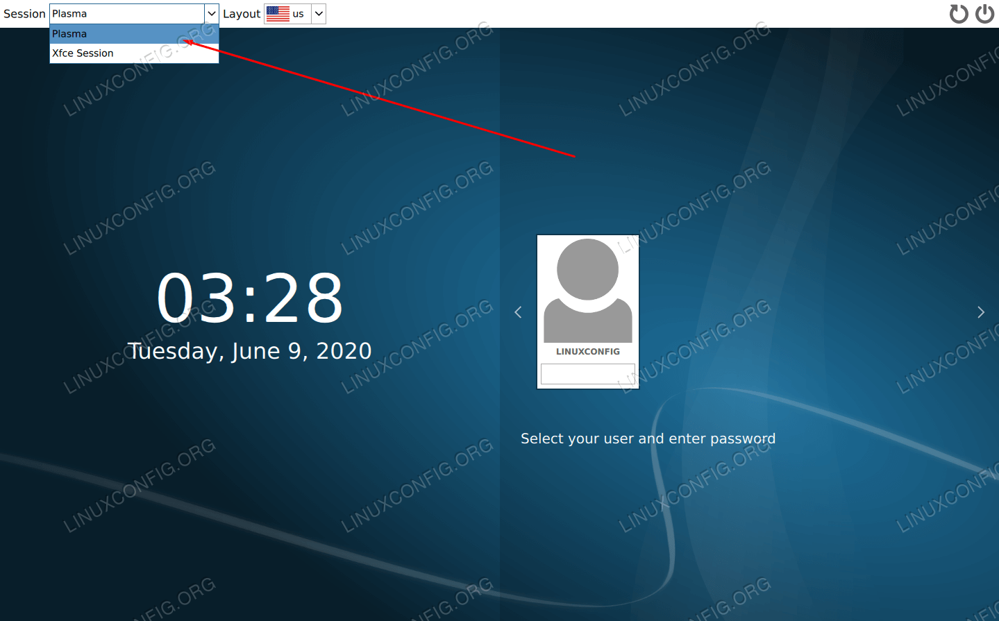 Login screen with KDE Plasma loaded
