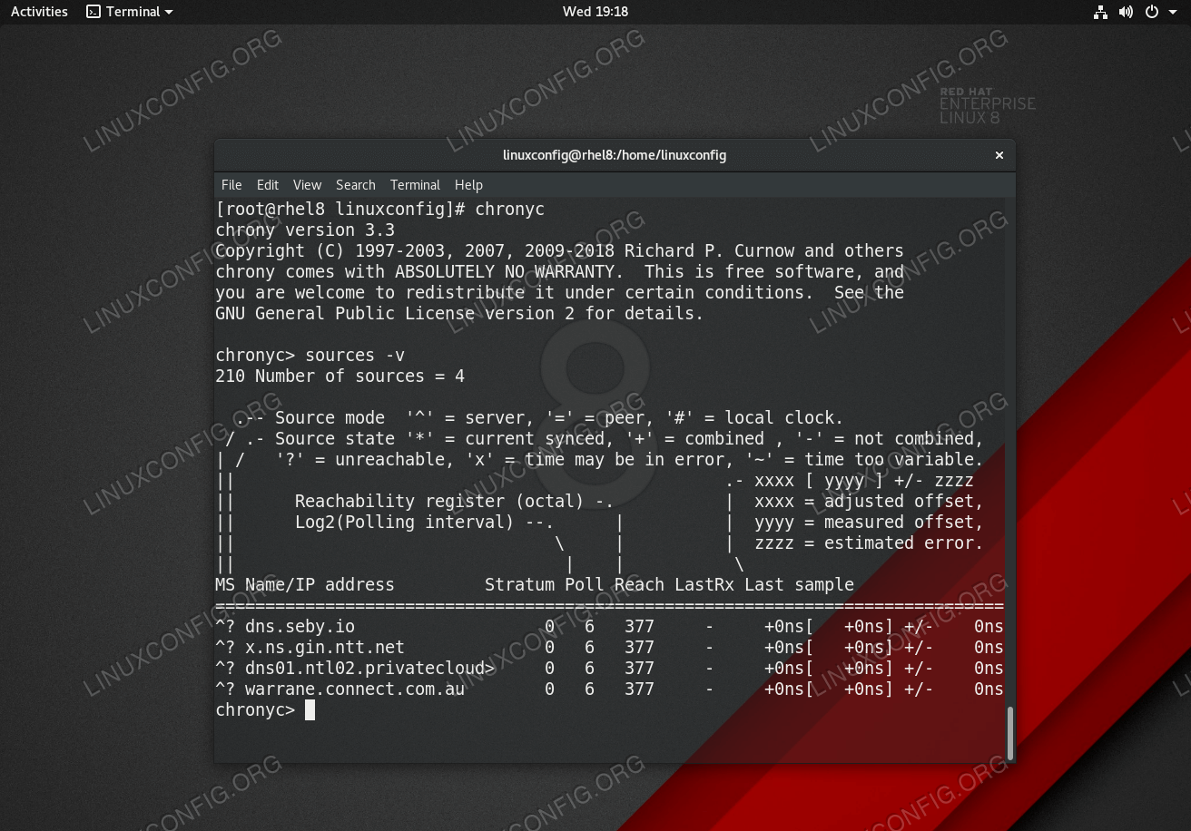 Chrony - NTP server source list on Red Hat Enterprise Linux 8.