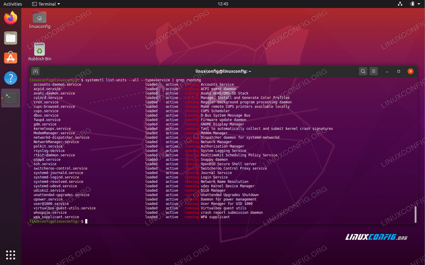 Running services list on Ubuntu 20.04