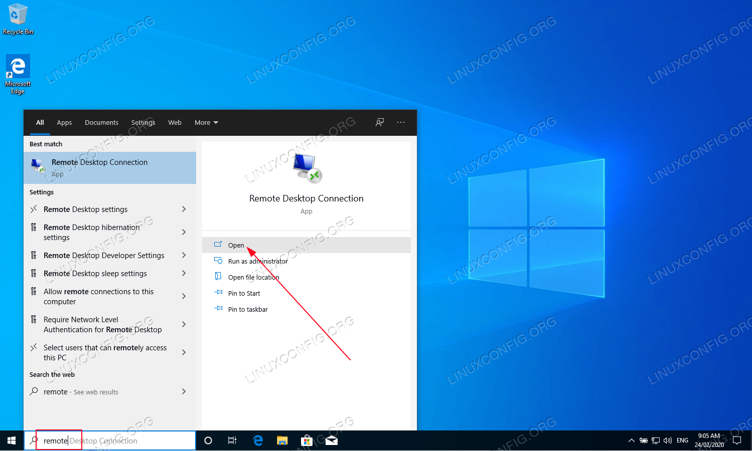 Move to Windows 10 host and open the Remote Desktop Connection client.