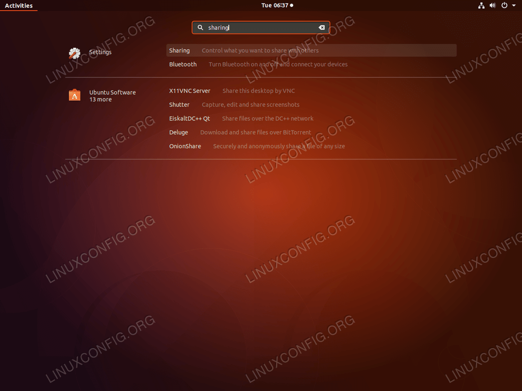 Ubuntu Remote Desktop - Sharing Settings
